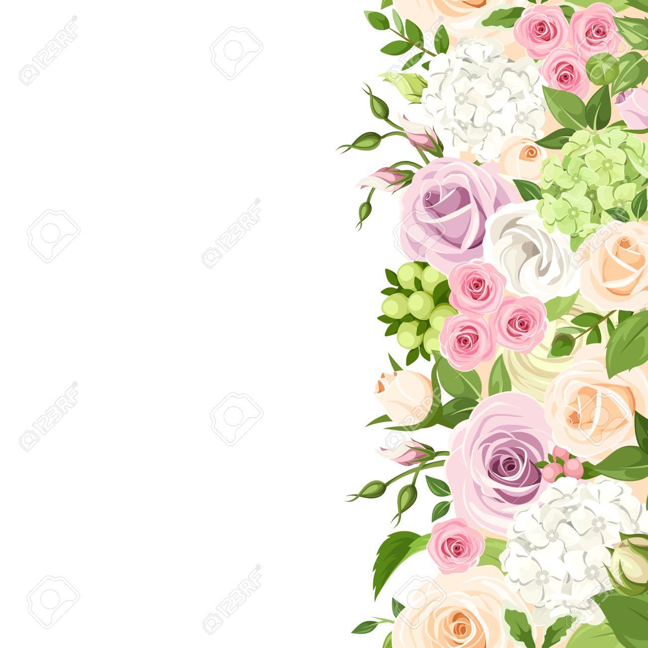 Vettoriale Sfondo Senza Soluzione Di Continuità Verticale Con Rosa