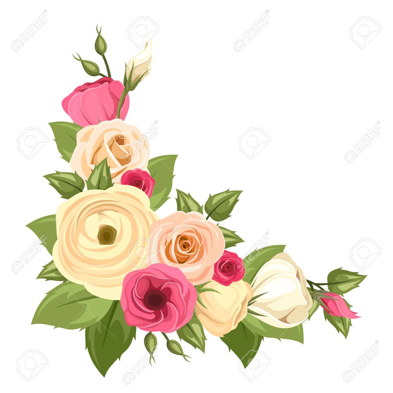 Vector Corner Background With Pink And Orange Roses Lisianthuses