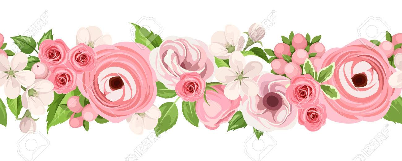 Vector horizontal seamless background with pink roses, lisianthuses, ranunculus and apple flowers on a white background. - 56884527