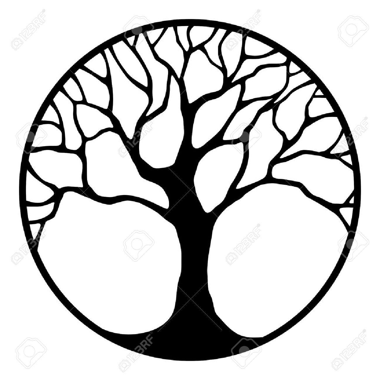 Vector black silhouette of a tree in a circle isolated on a white background. - 56884584