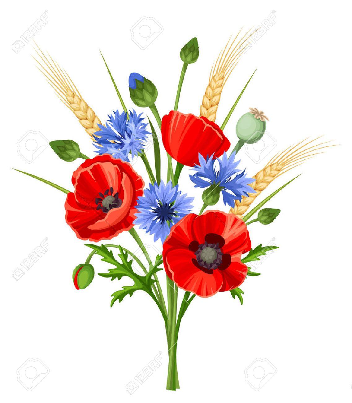 fleurs des champs bouquet de fleurs de pavot rouge, bleuets et épis de blé