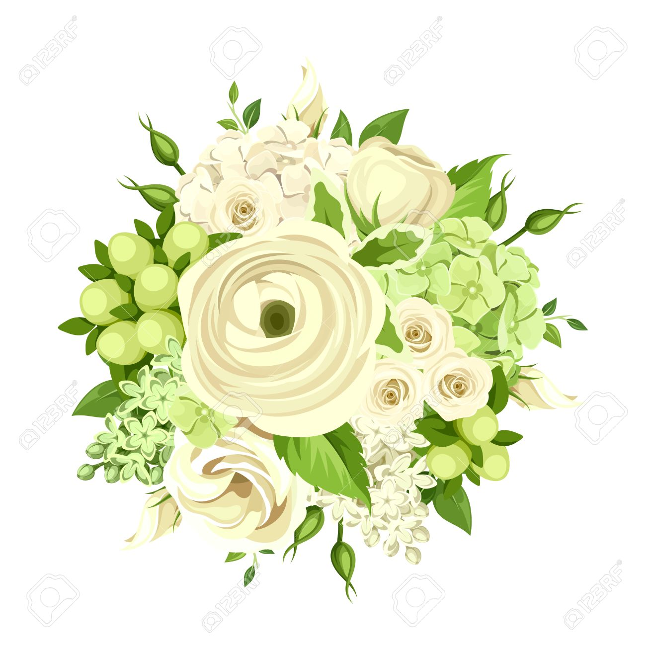 Vector Bouquet With White And Green Roses, Ranunculus, Lisianthus ...