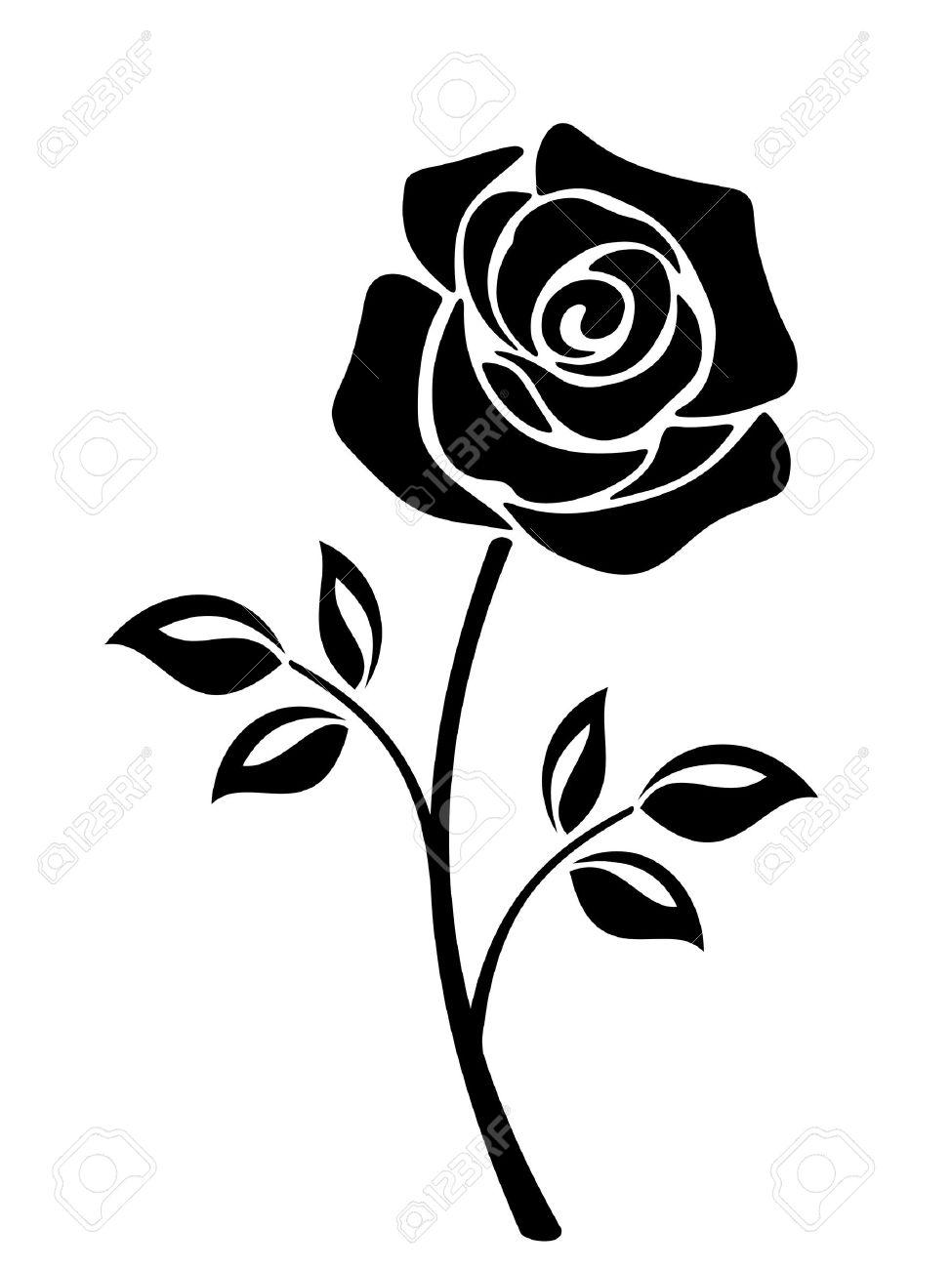 Vector Black Silhouette D Une Fleur Rose Avec Tige Isole Sur Un Fond