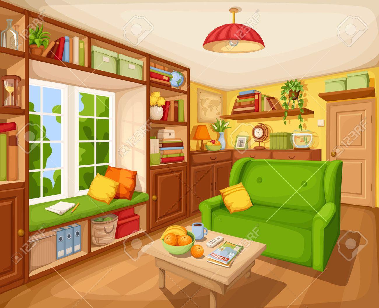 Vector Gemütliches Wohnzimmer Zwischen Mit Bücherregal, Sofa Und ...