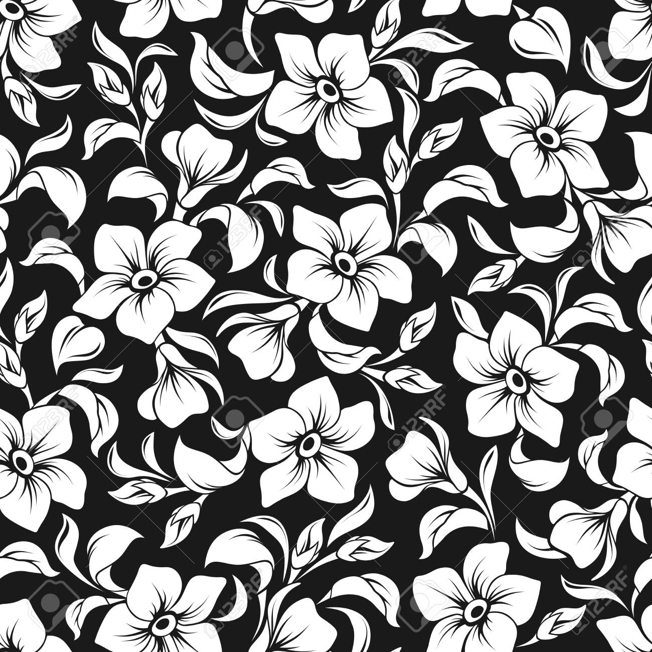 Vector Seamless Floral Pattern With White Flowers And Leaves