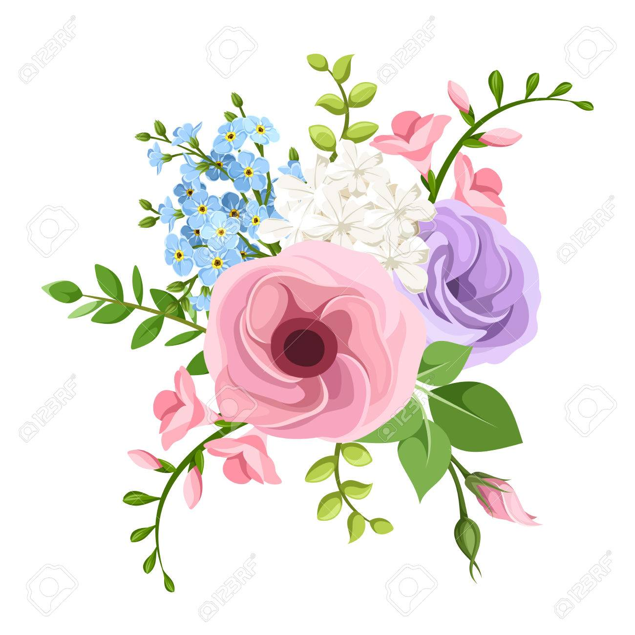 Bouquet Of Pink Purple Blue And White Lisianthuses Freesia