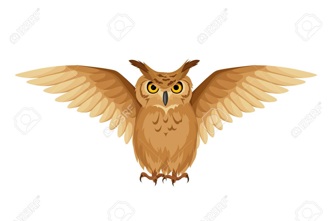 Brown Owl With Open Wings Isolated On A White Background Royalty