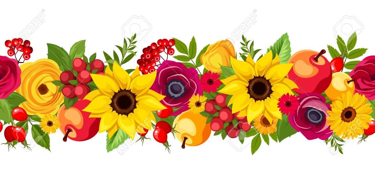 Fond transparent horizontal de vecteur avec des fleurs colorées de  l\u0027automne, des pommes, des baies et des feuilles.