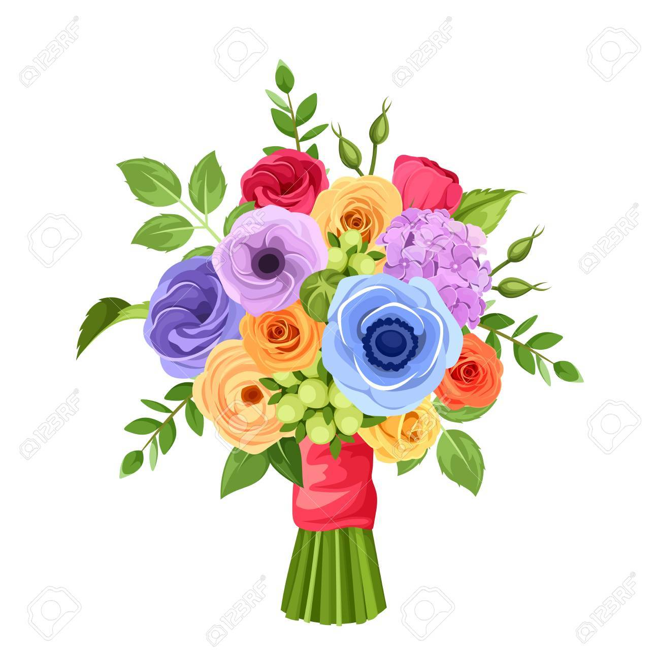 Vector bouquet of red orange yellow blue and purple flowers vector vector bouquet of red orange yellow blue and purple flowers isolated on a white background izmirmasajfo