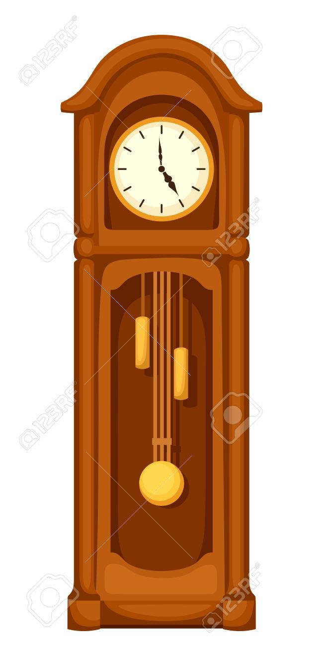 vector vintage longcase grandfather clock isolated on a white rh 123rf com grandfather clock clipart black and white grandfather clock clip art free