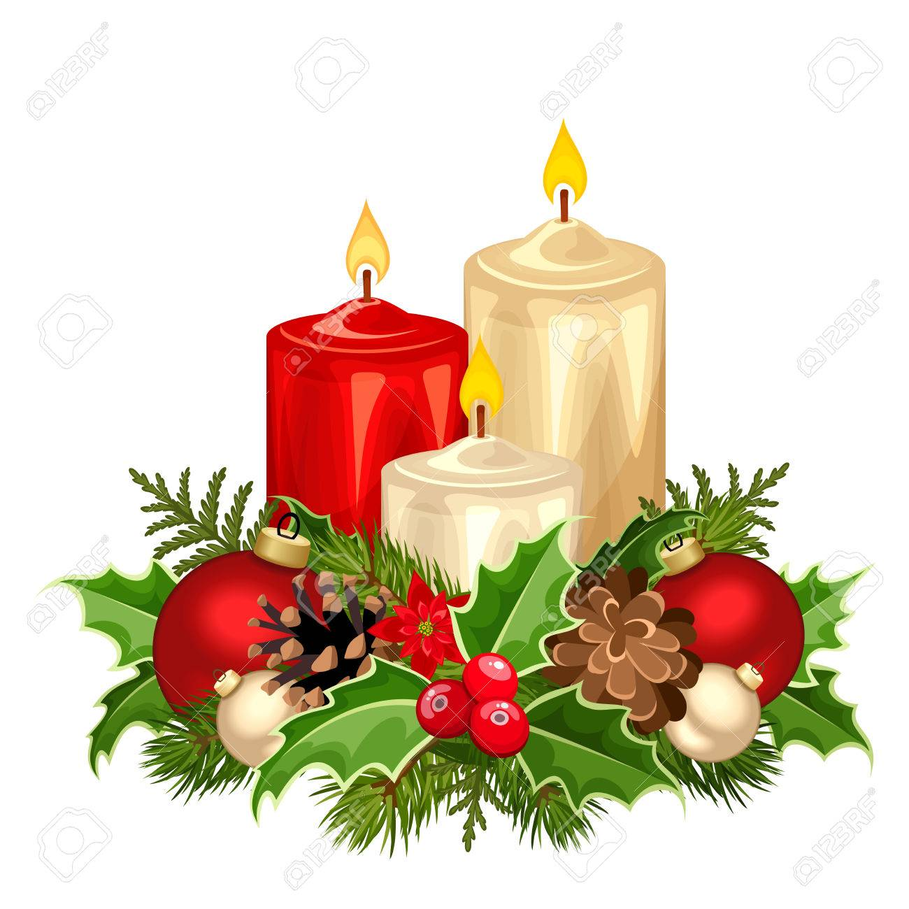 Christmas Candles.Vector Illustration Of Three Red And White Christmas Candles
