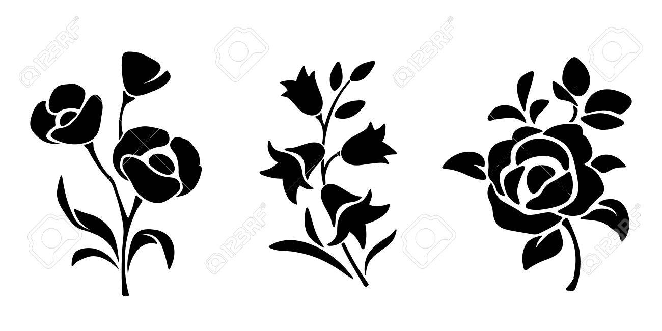 Three Vector Black Silhouettes Of Flowers Isolated On A White