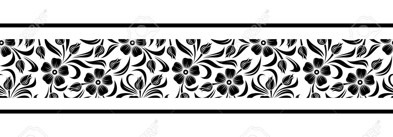 Vector horizontal black and white seamless border with flowers vector vector horizontal black and white seamless border with flowers mightylinksfo