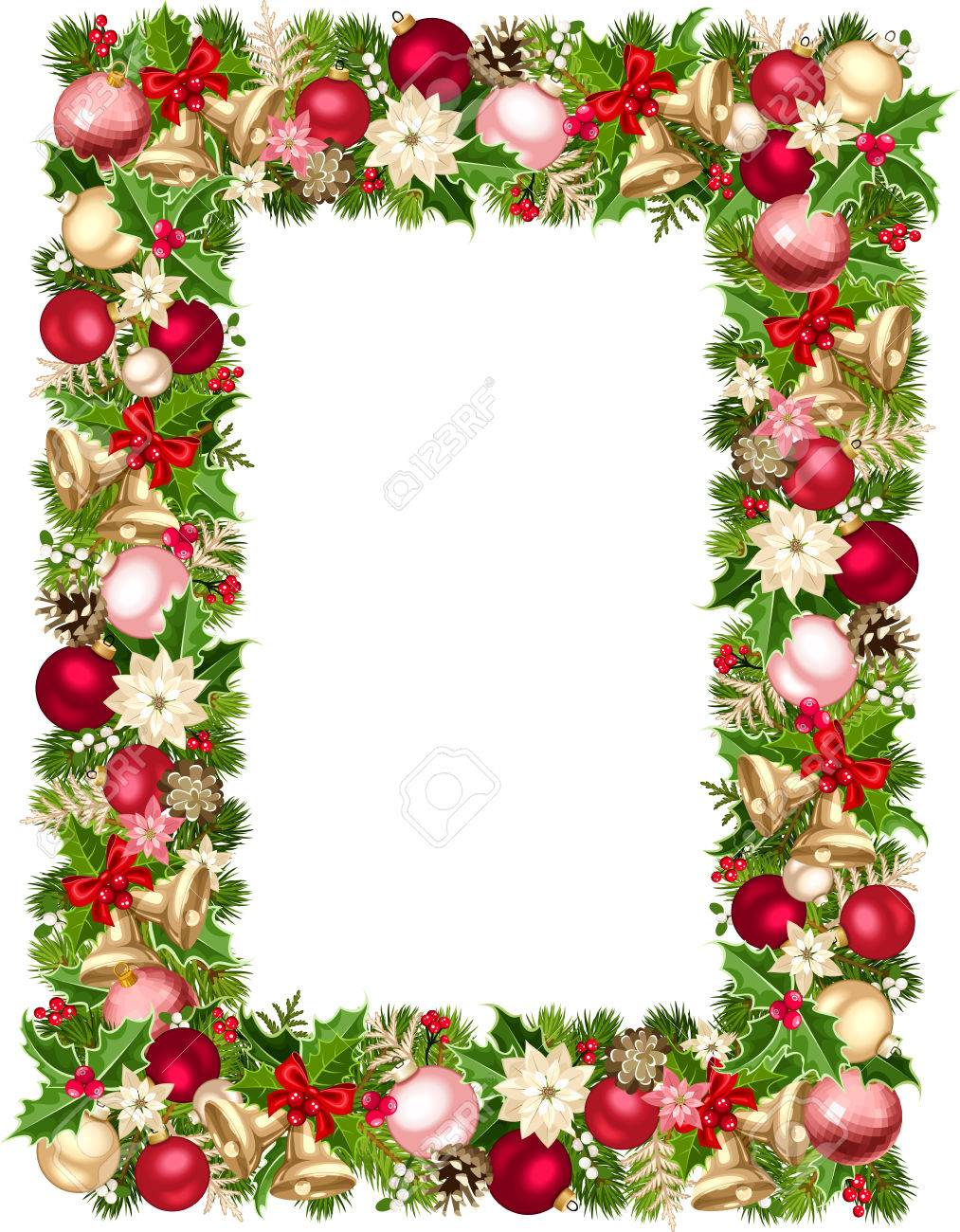 Vector christmas frame with green red pink and silver fir tree vector christmas frame with green red pink and silver fir tree branches jeuxipadfo Images