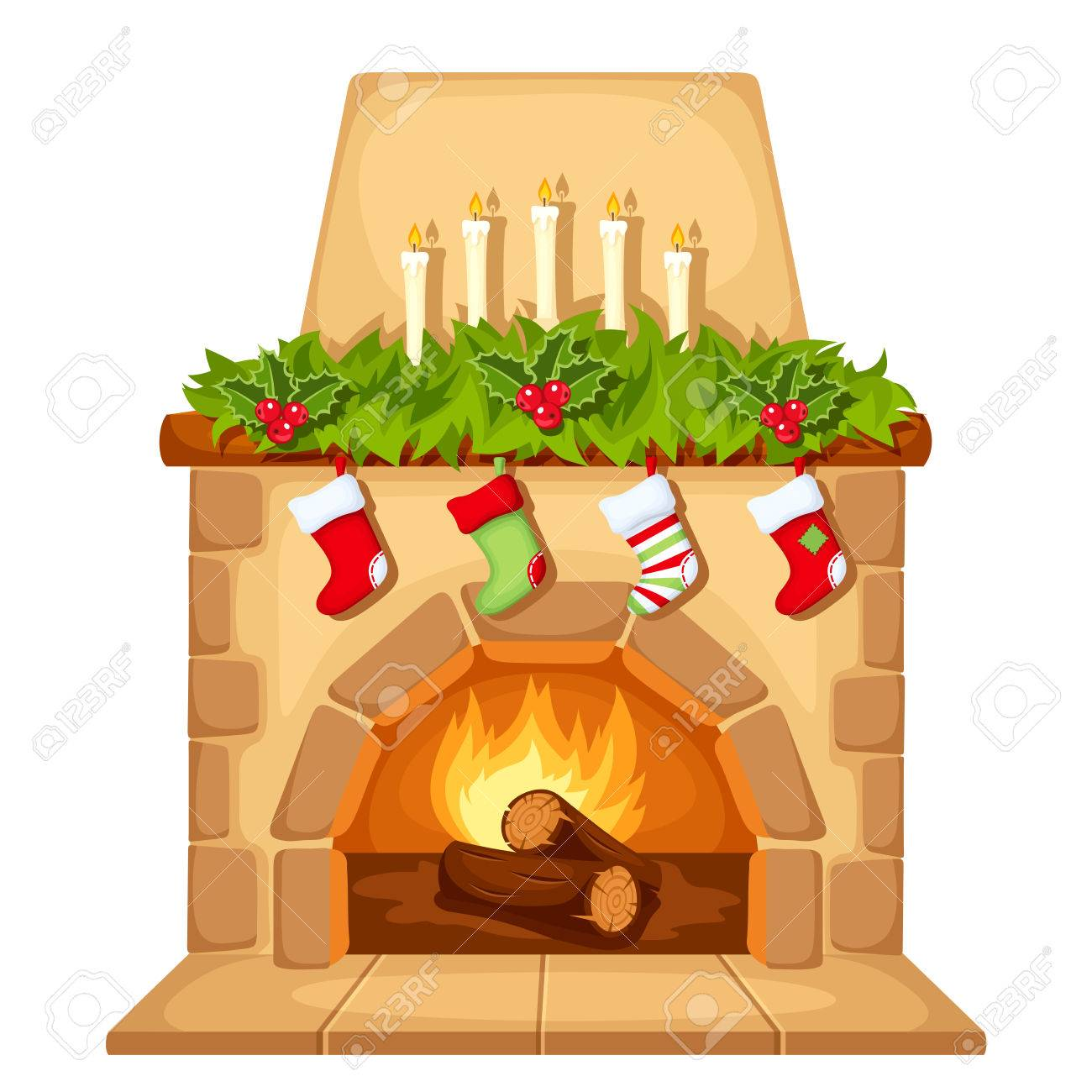 Vector illustration of Christmas fireplace isolated on a white background. - 67841750