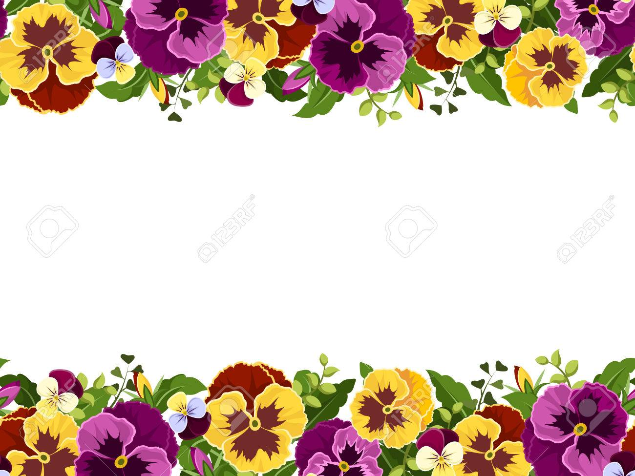 Vector Horizontal Seamless Frame With Yellow And Purple Pansy