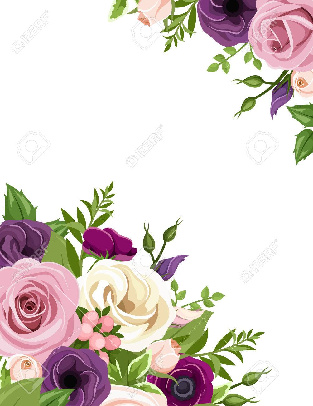 Vector Background With Pink Purple White And Orange Roses