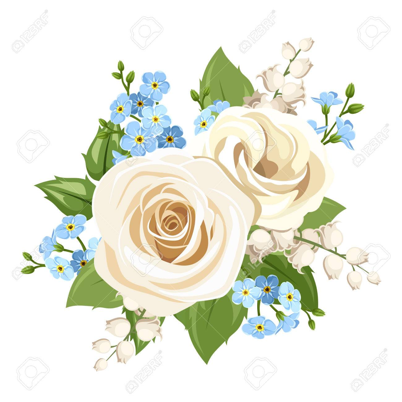 Vector - Vector vintage white and blue roses, lisianthuses, lily of the  valley and forget-me-not flowers isolated on a white background.