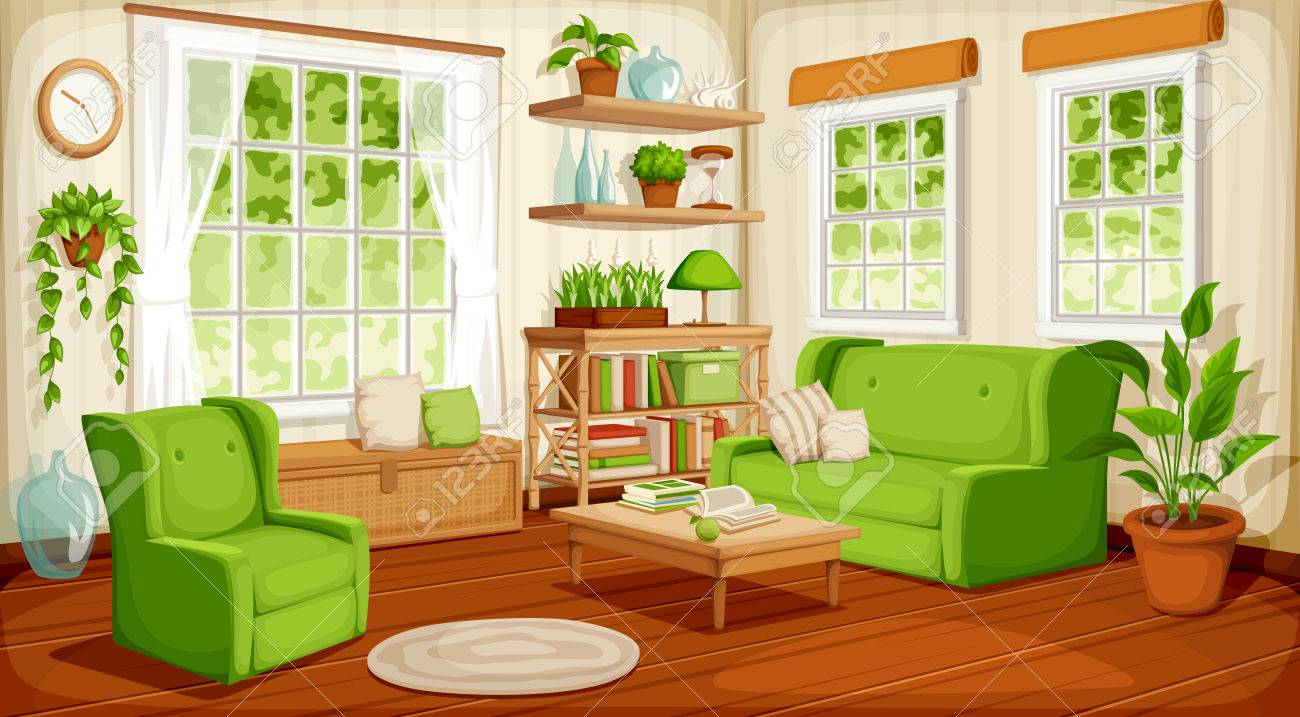 A Vector cozy living room interior with big windows, sofa, armchair and houseplants. - 77094252