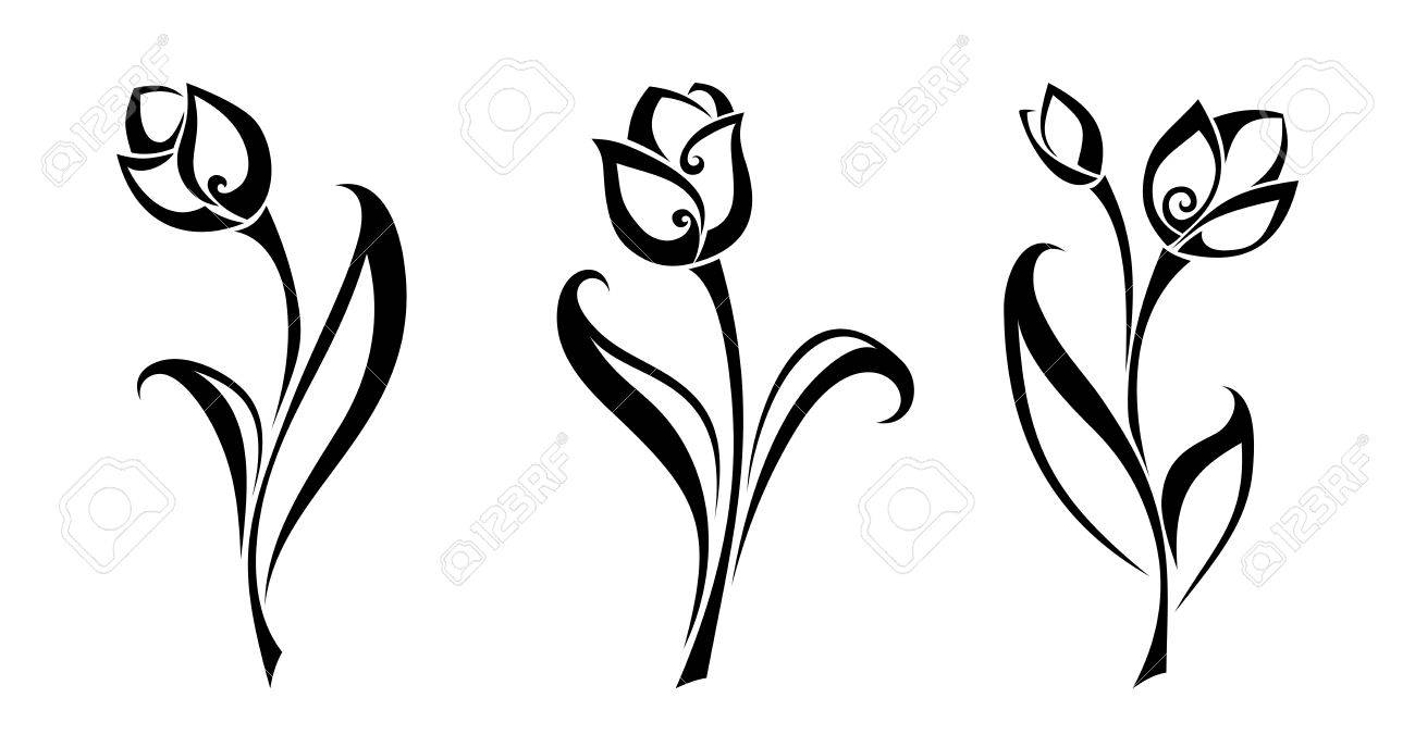 Vector vector set of black silhouettes of tulip flowers isolated on a white background