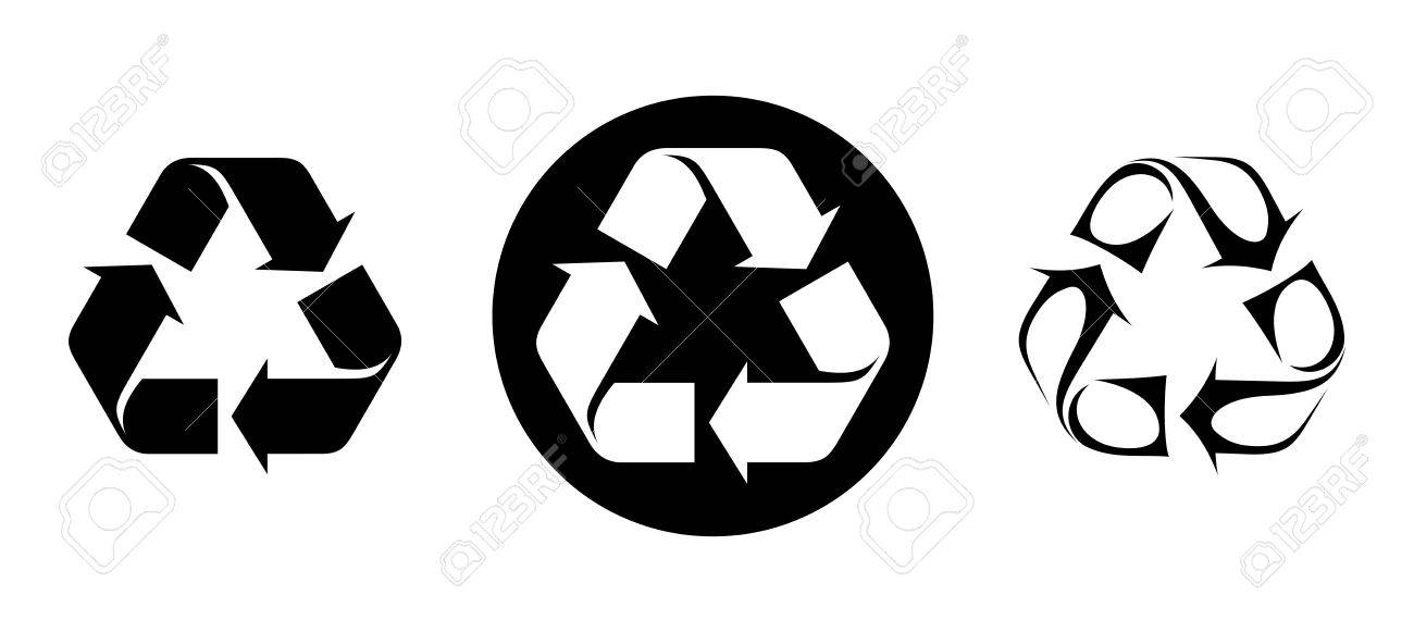 Conjunto De Símbolos De Reciclaje Blanco Y Negro Aislado En Un Fondo