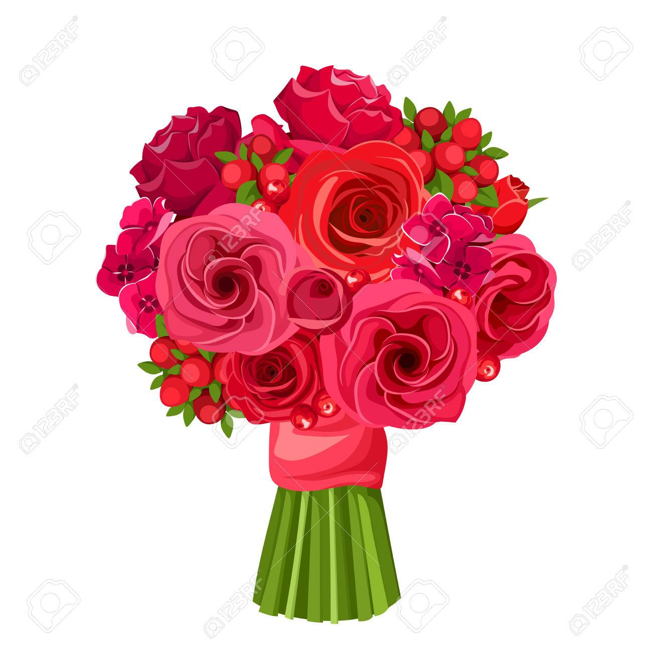 Vector Bouquet Of Red Roses And Lisianthus Flowers Isolated On A