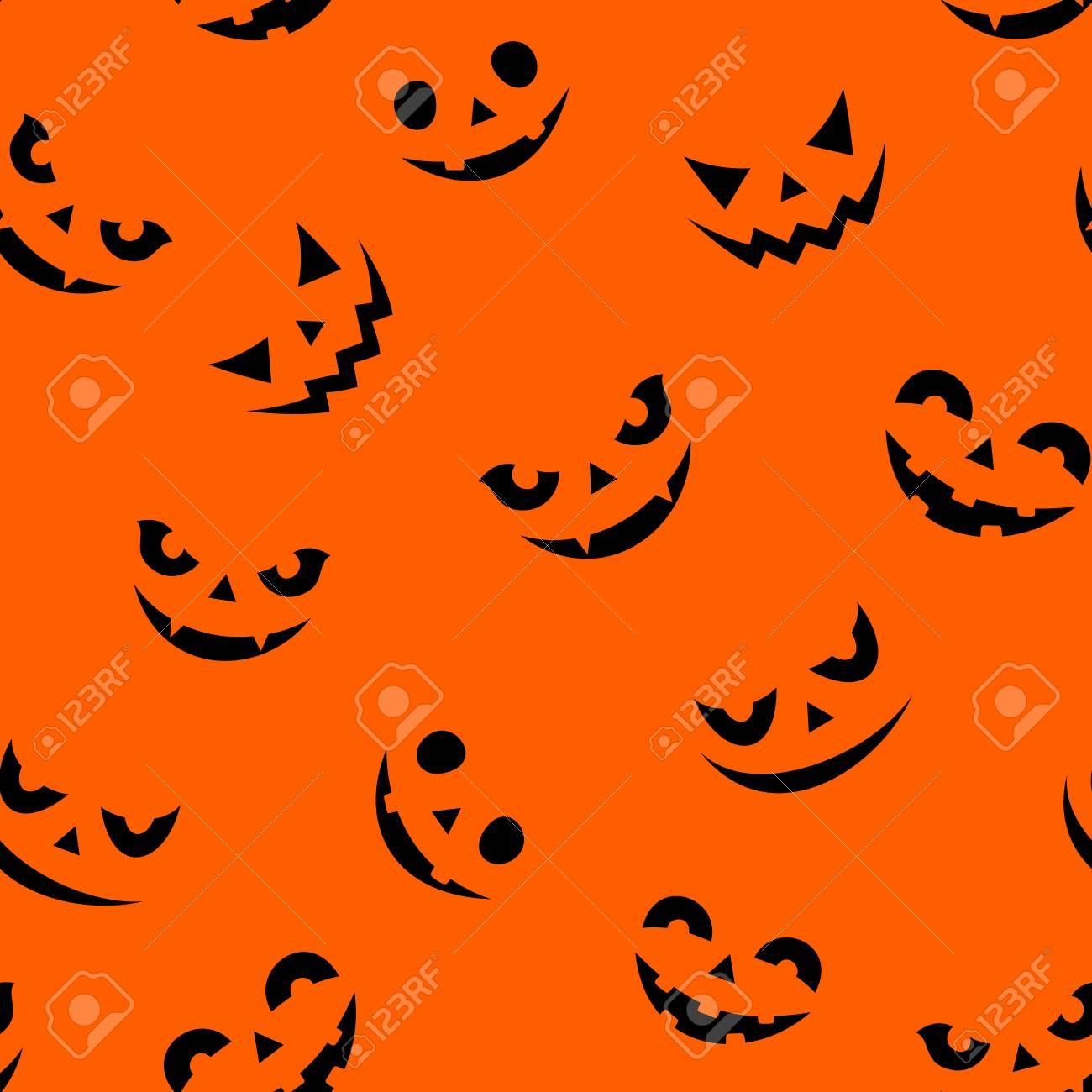 Vector Seamless Pattern With Jack O Lantern Faces On An Orange