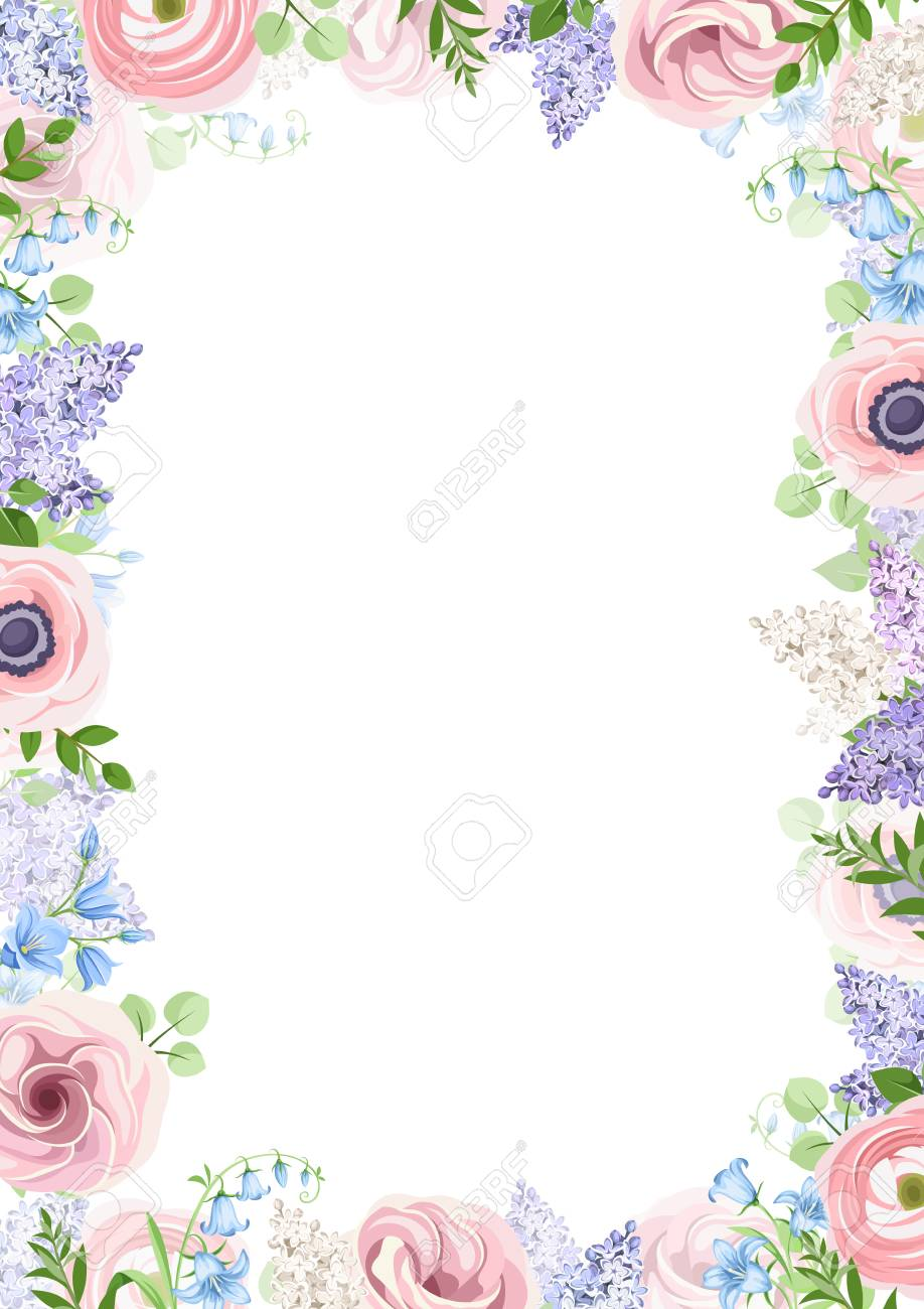 Vector Background Frame With Pink Blue And Purple Flowers Royalty