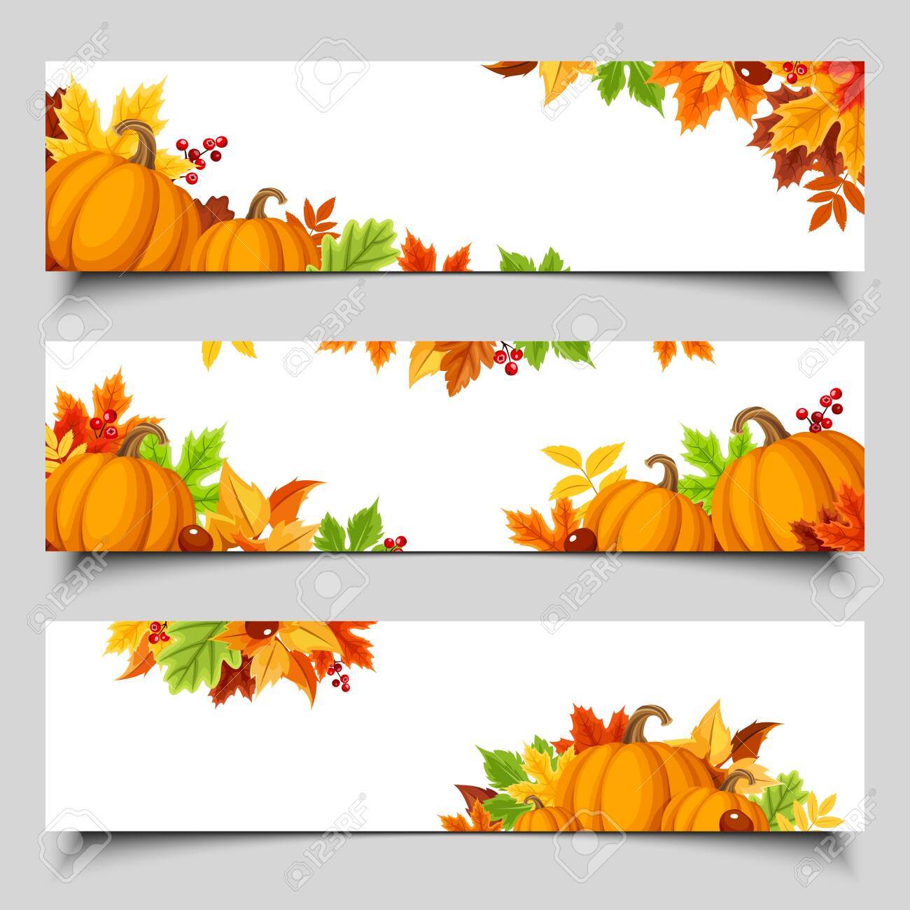 Set of three vector web banners with orange pumpkins and colorful autumn leaves. - 131964320