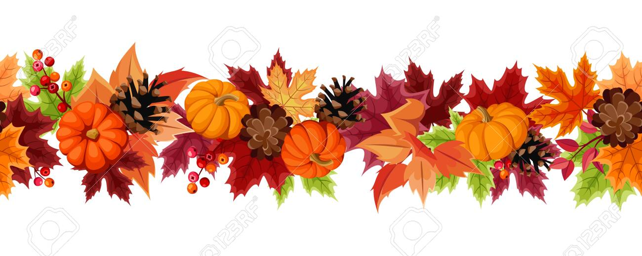 Vector horizontal seamless background with orange pumpkins, pinecones and colorful autumn leaves. - 136894628
