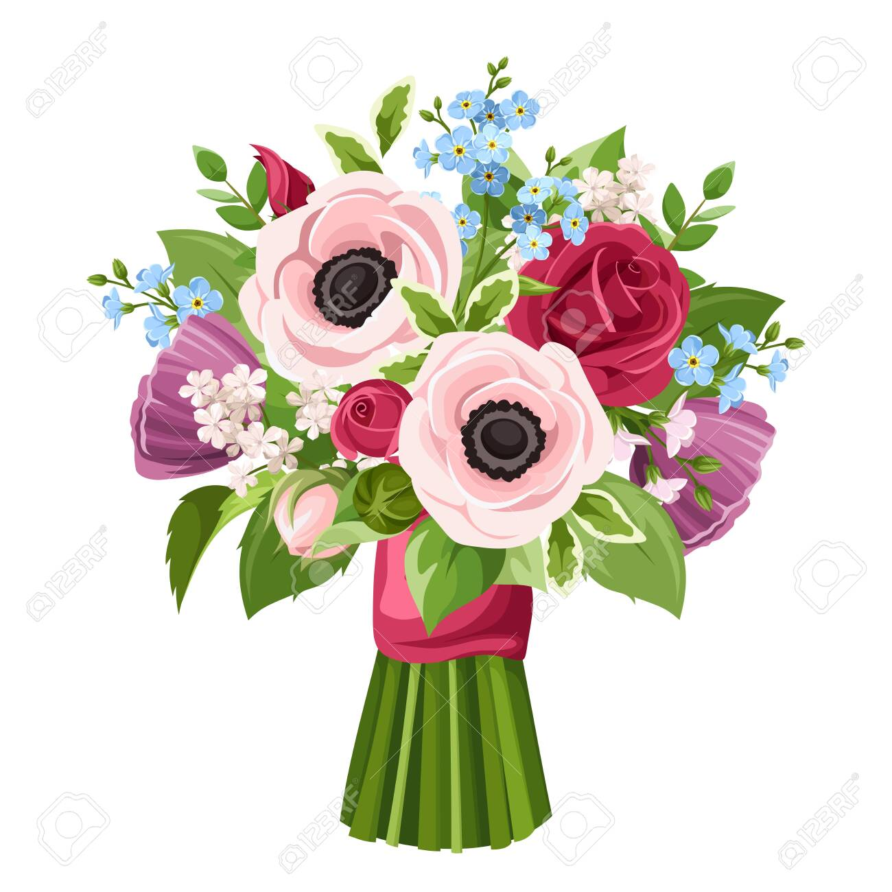 Vector bouquet of red, pink, purple and blue anemones, roses and forget-me-not flowers isolated on a white background. - 144914087