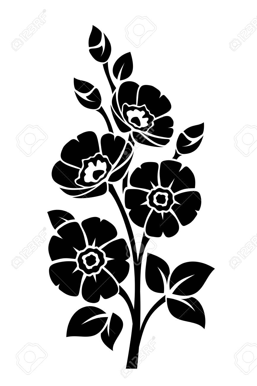 Black silhouette of flowers isolated on a white - 147018066