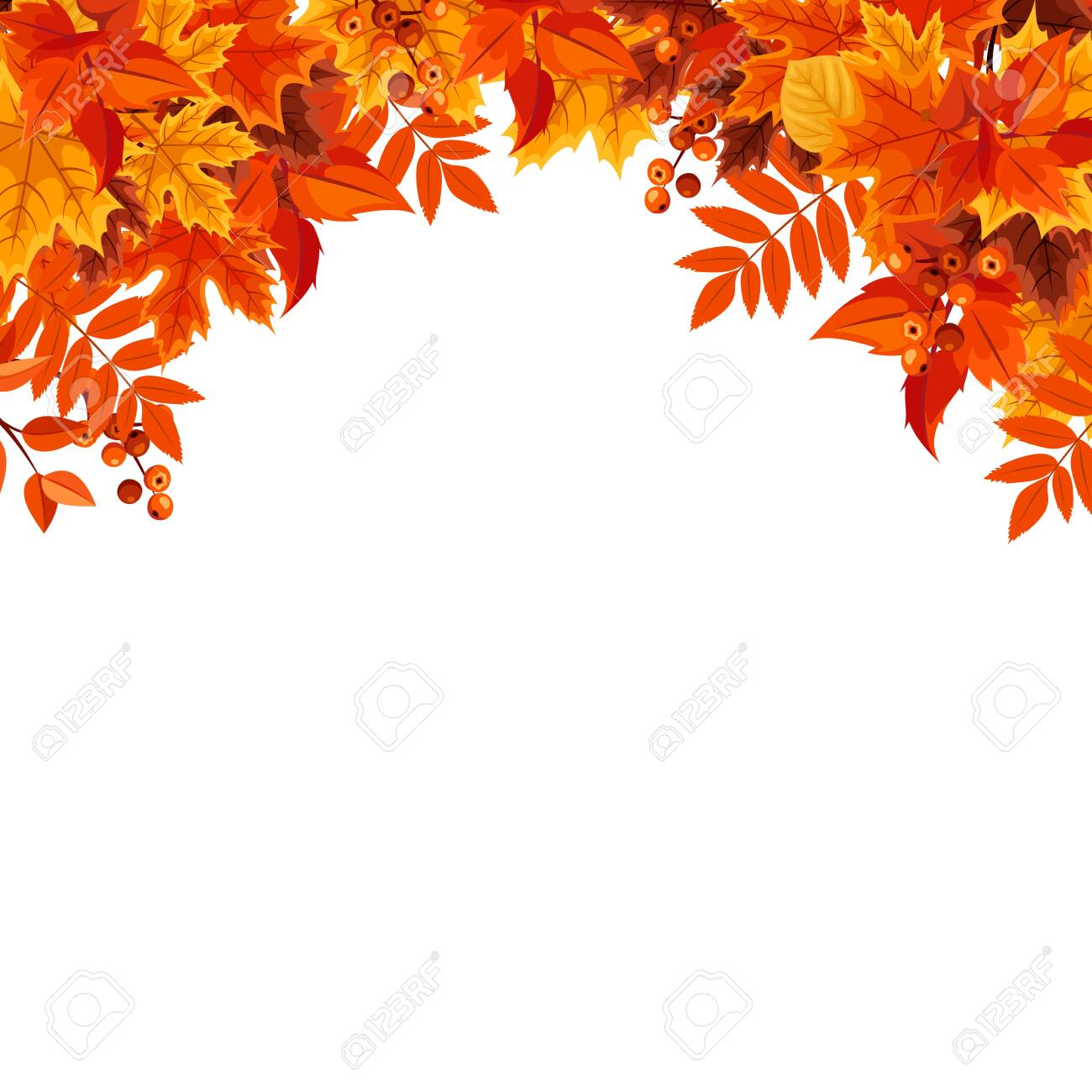 Vector frame background with orange autumn leaves. - 154812547