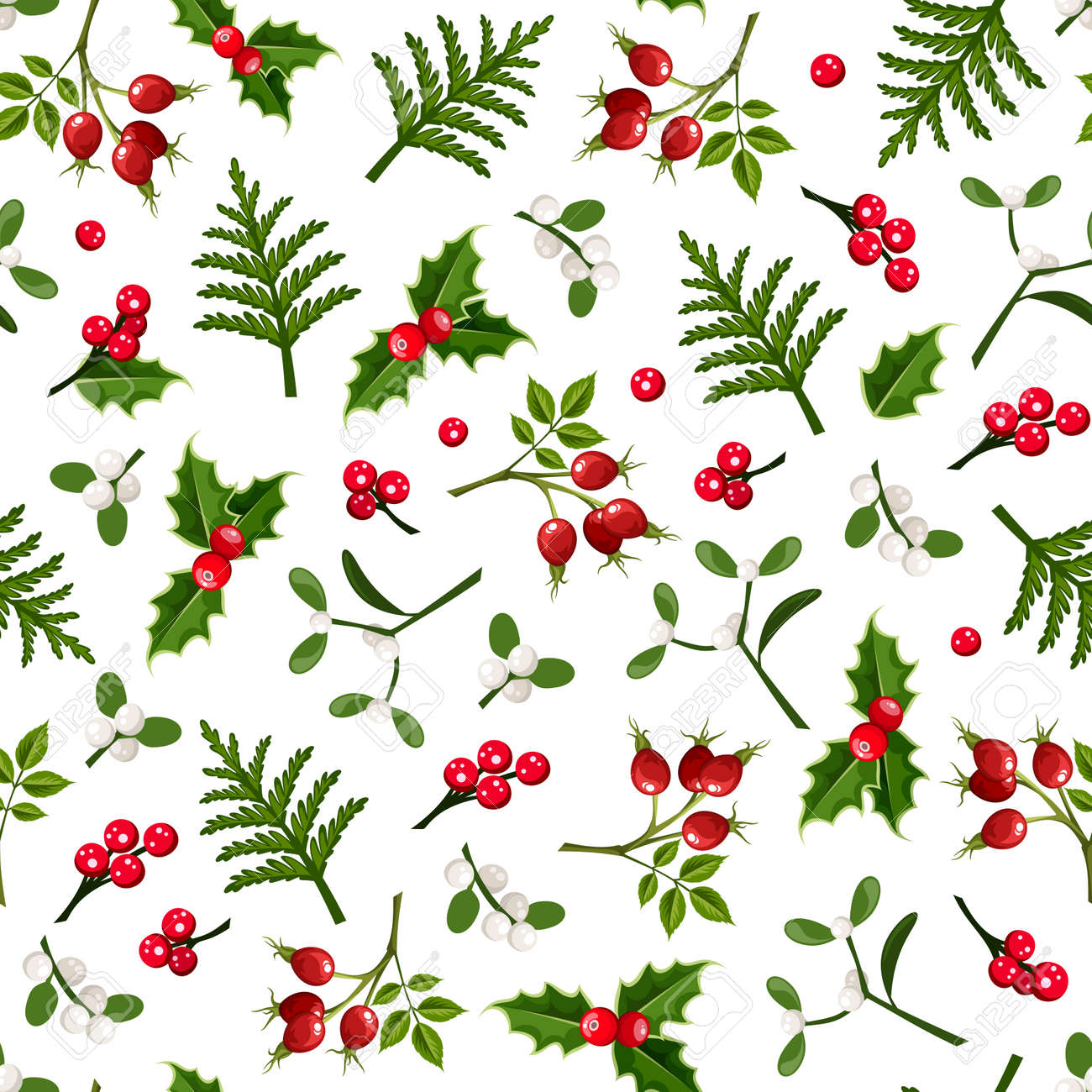 Vector Christmas floral seamless pattern with holly, mistletoe, rosehip and fir branches on a white background. - 159090705