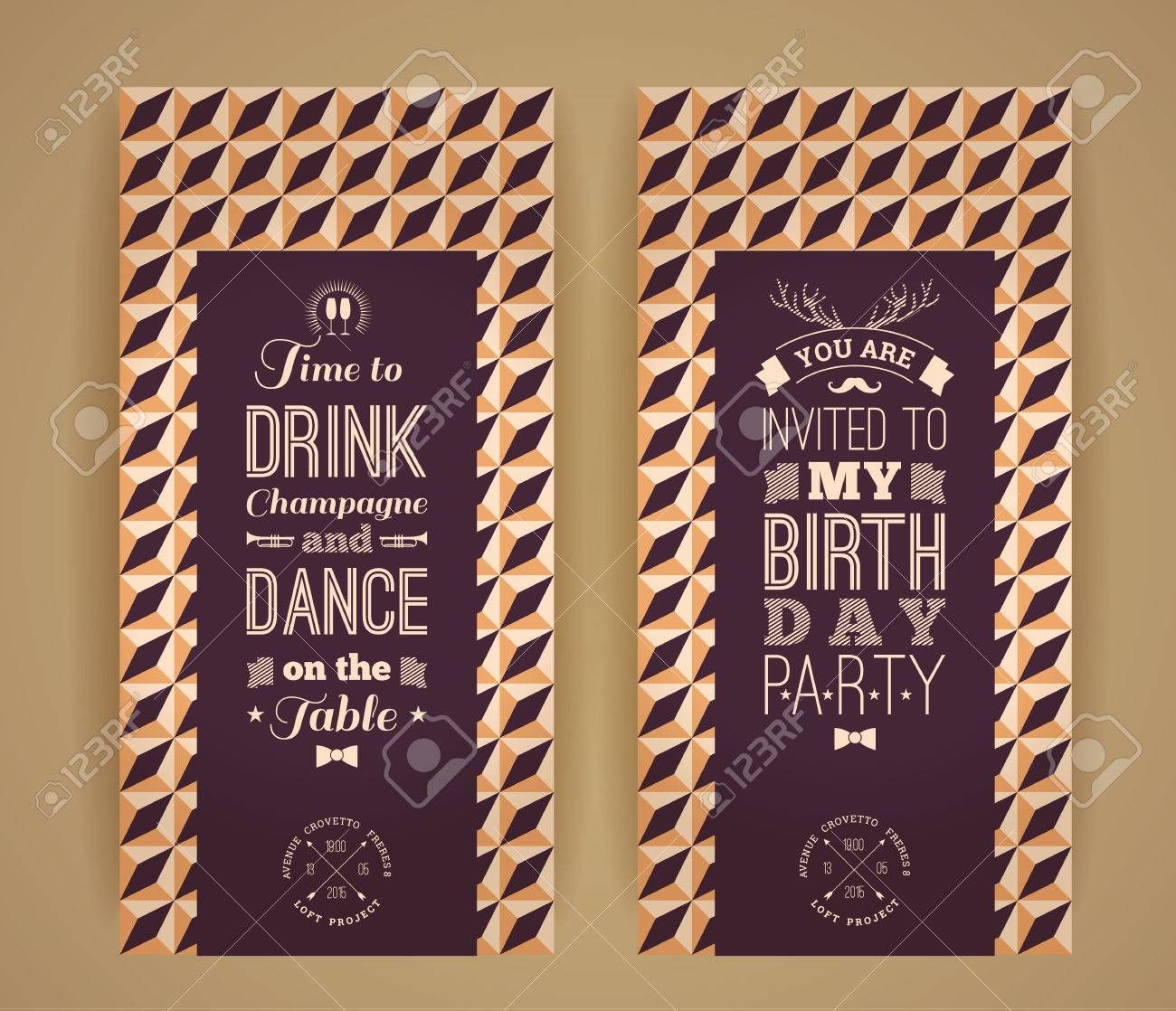 Happy Birthday Invitation Vintage Retro Background With Geometric Pattern Hipster Style Vector Illustration