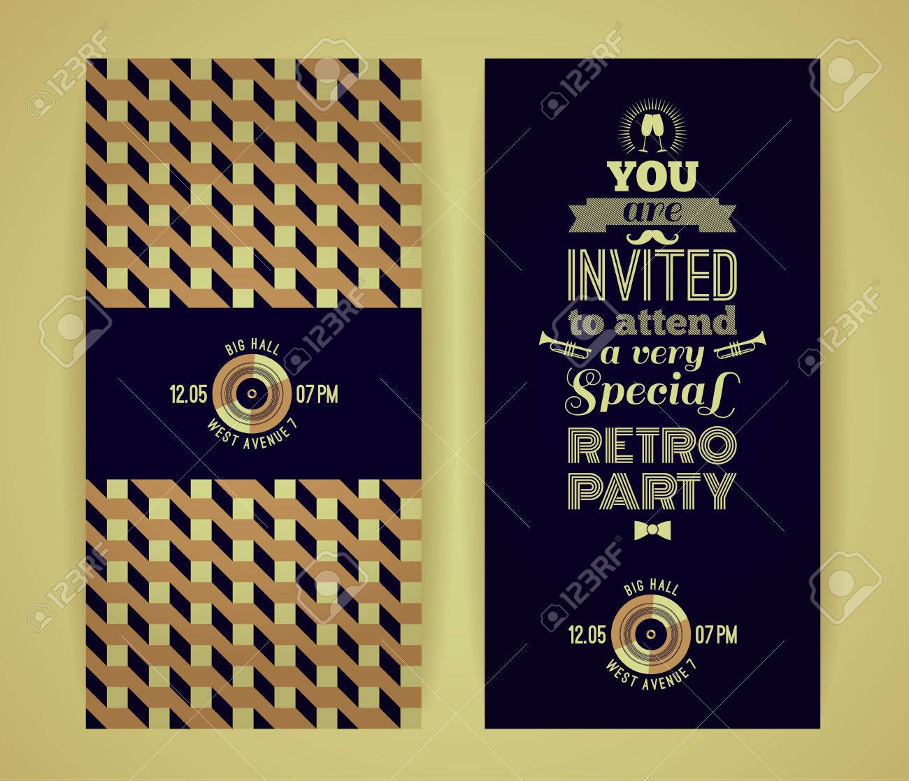 Invitation to retro party vintage retro geometric background invitation to retro party vintage retro geometric background hipster style vector illustration stopboris Choice Image