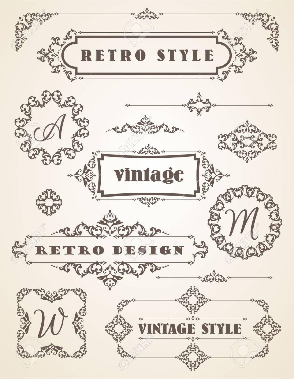 Set of Retro Vintage Badges, Frames, Labels and Borders. Design elements. - 39186084