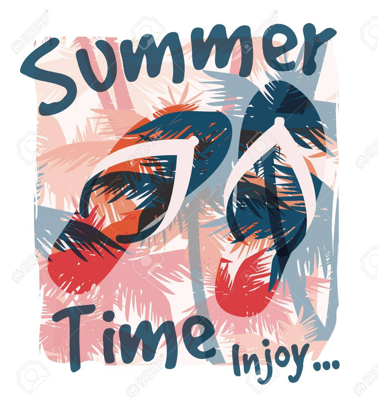 Tropical summer print with slogan for t-shirt graphic and other uses. Vector illustration. - 40912619