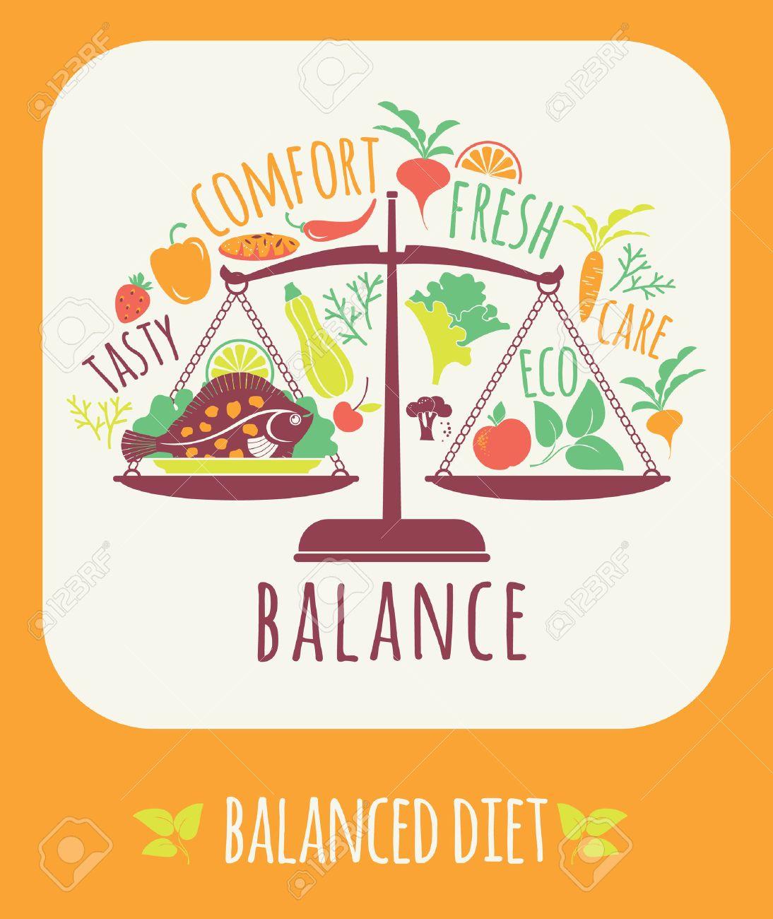 Vector illustration of Balanced diet. Elements for design - 46667527