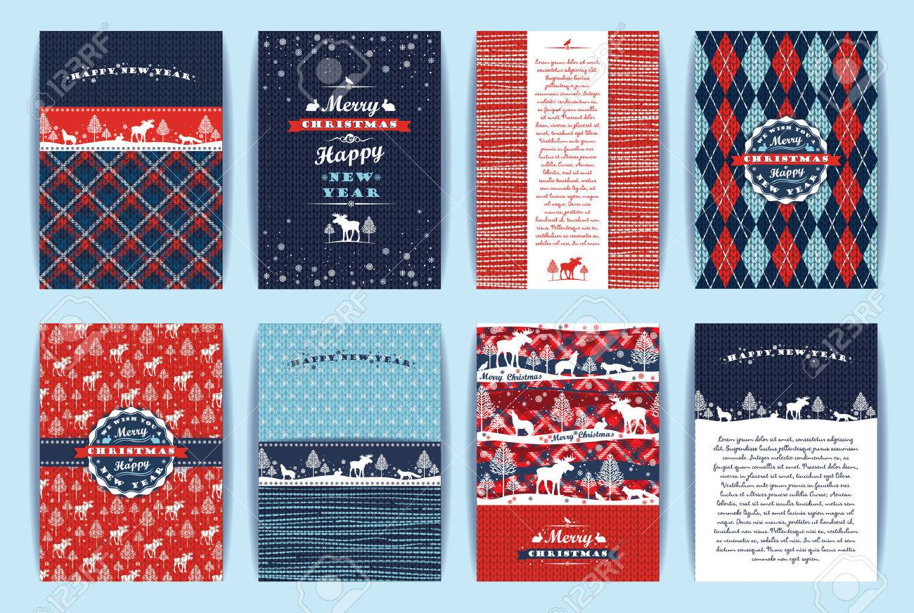 Christmas and New Year Set. Plaid and knitted backgrounds. Vector Design Templates Collection for Banners, Flyers, Placards, Posters and other use. - 46667555