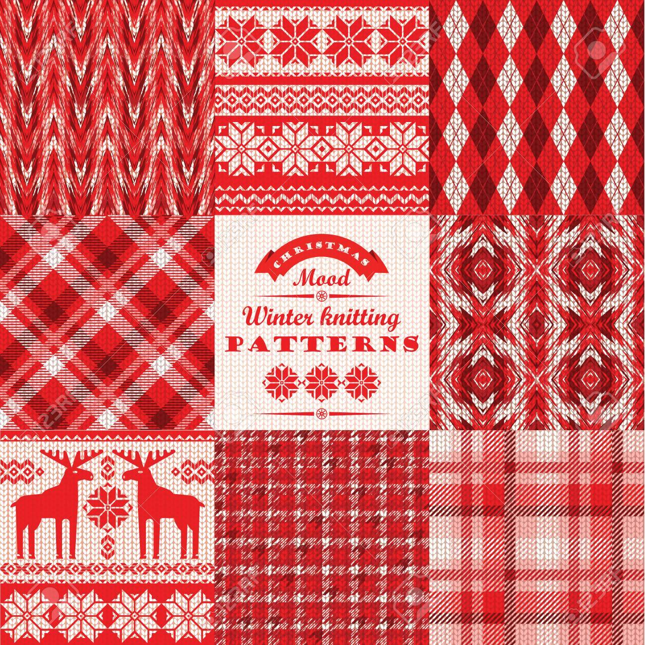 Christmas And New Year Set Plaid And Knitted Seamless Backgrounds