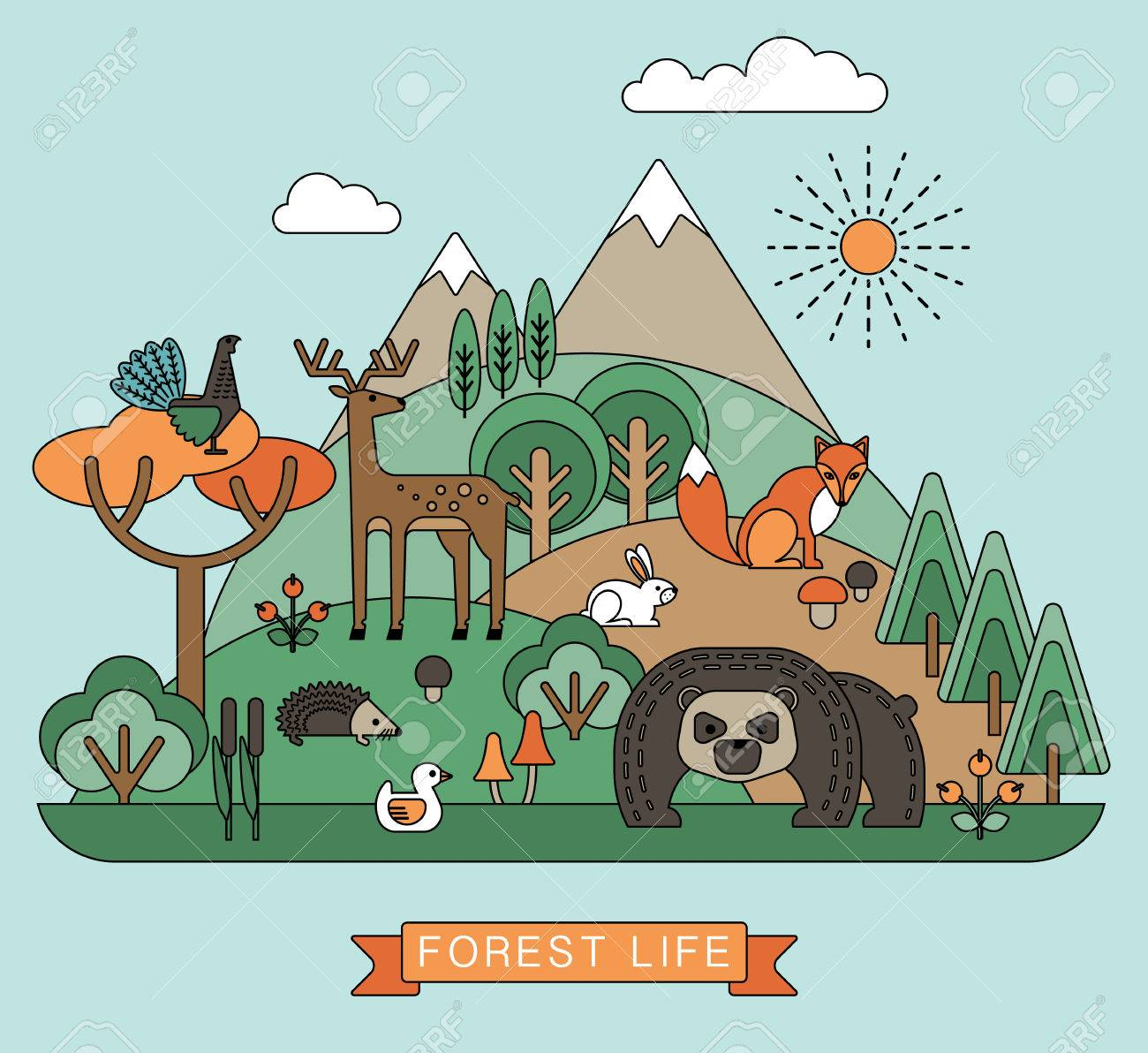 Ilustracion Vectorial De La Vida En El Bosque La Flora Y Fauna Del Bosque Estilo Grafico Moda Ilustraciones Vectoriales Clip Art Vectorizado Libre De Derechos Image 48016112