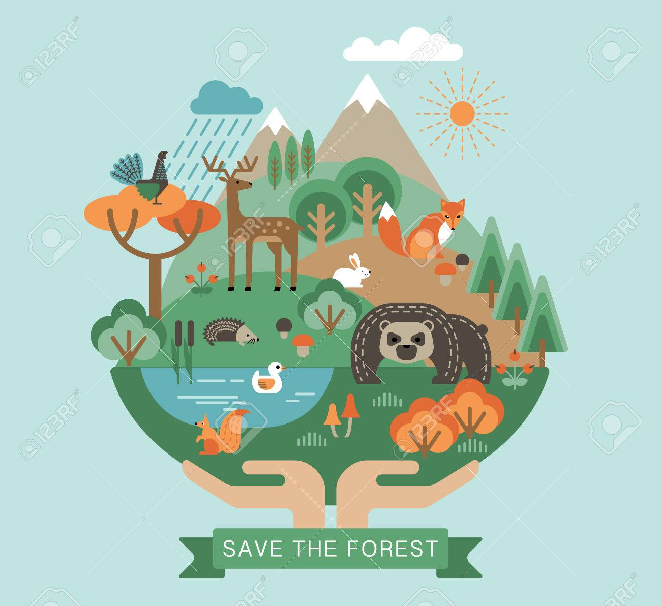 Vector illustration of protection nature. Forest flora and fauna. Trendy graphic style. - 48016189