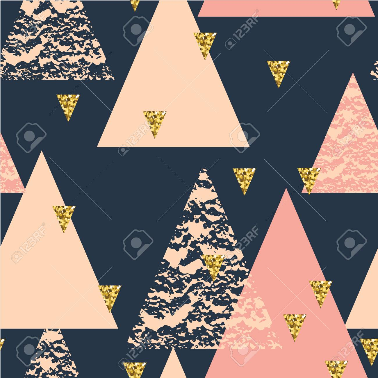 Abstract hand drawn geometric seamless repeat pattern with glitter texture. - 55070694