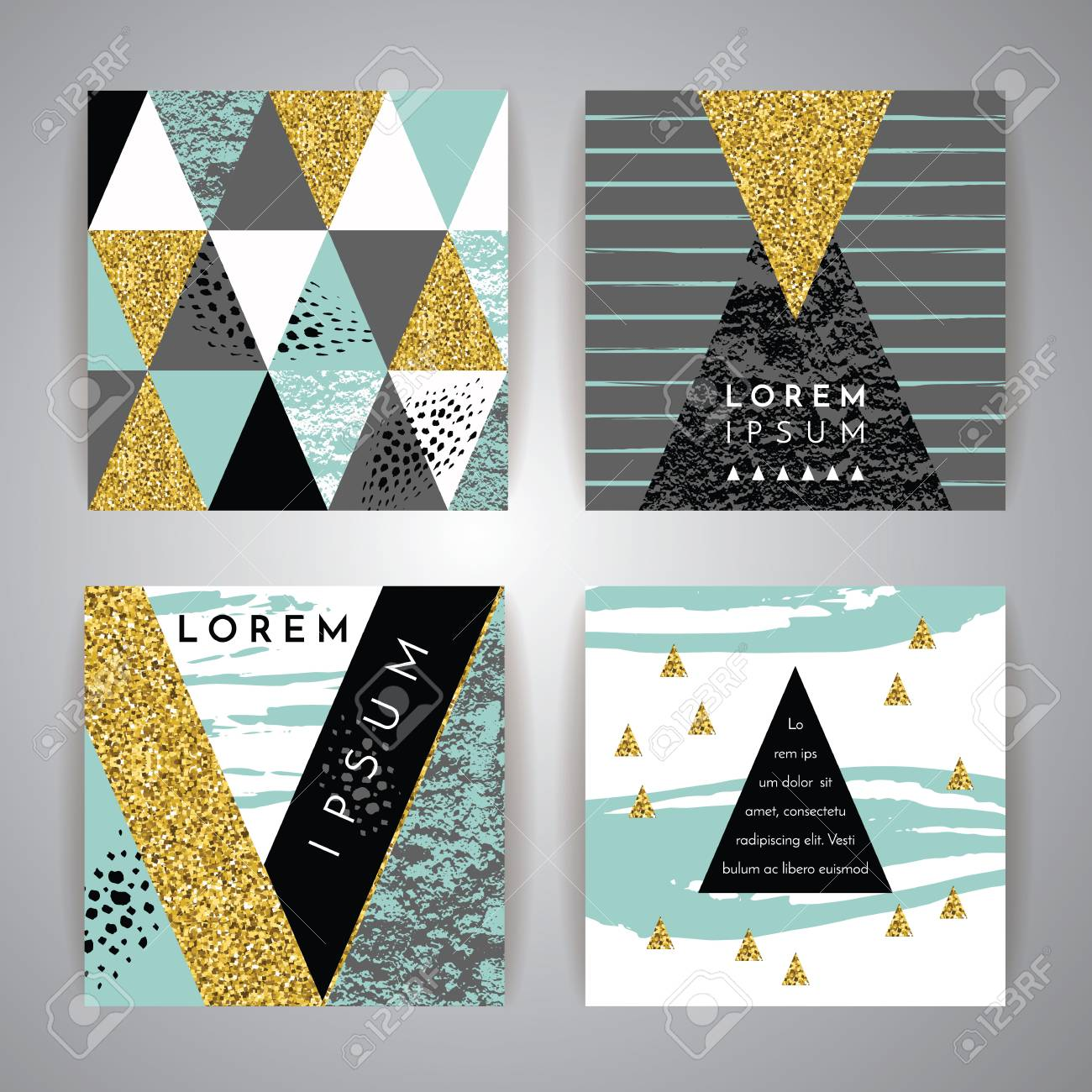 Set of abstract geometric backgrounds. Hand drawn vintage texture and geometric elements. Modern and stylish abstract design poster, cover, card design. Vector templates. - 55070697