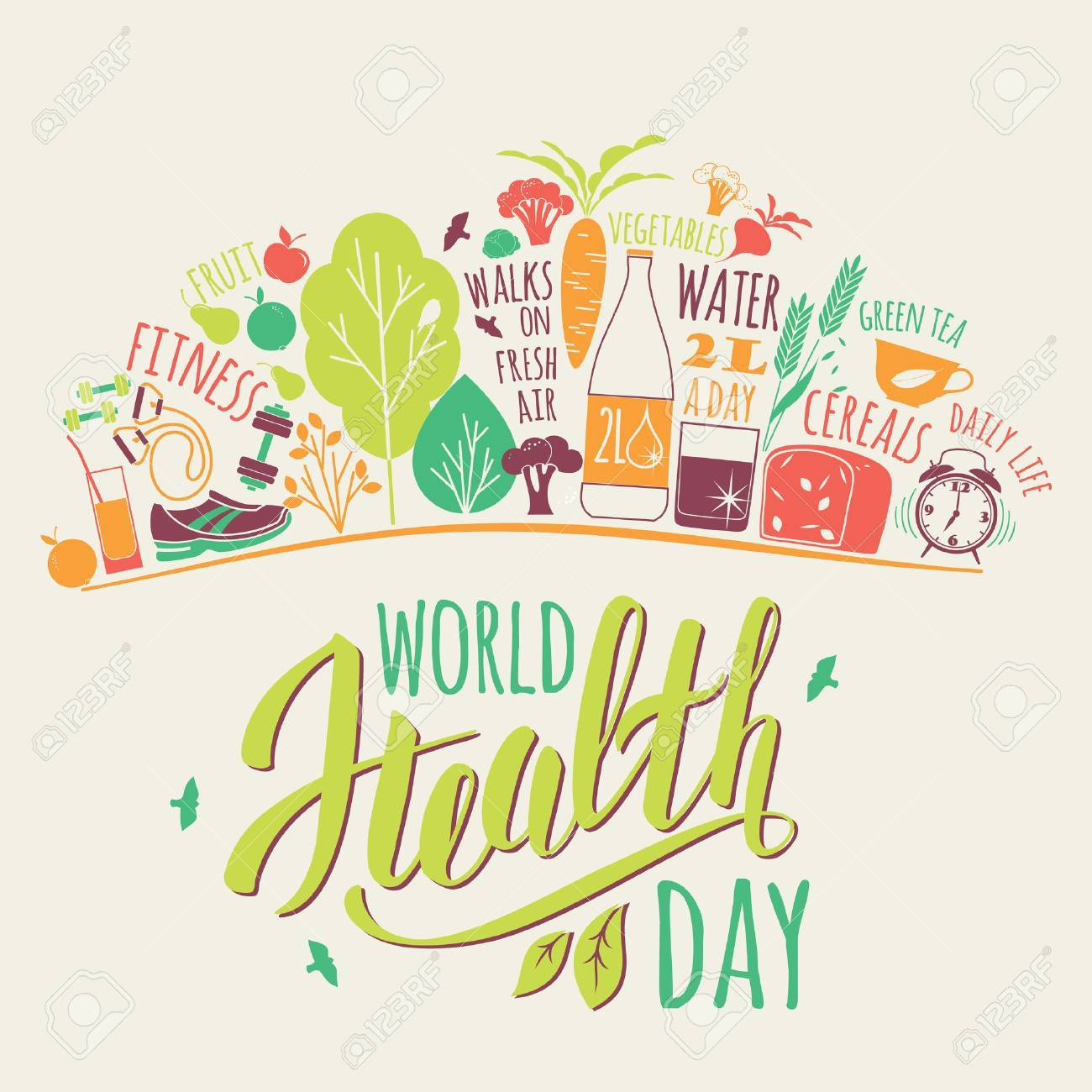 World health day concept with healty lifestyle illustration. - 55707212