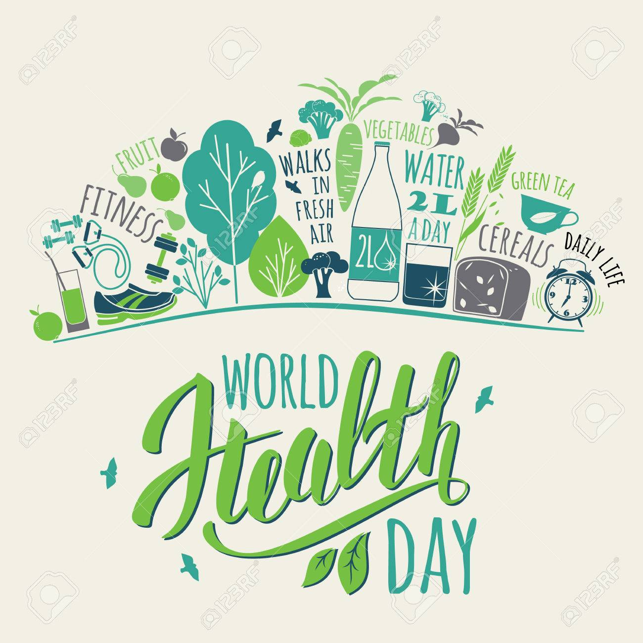 World health day concept with healty lifestyle illustration. - 55707216