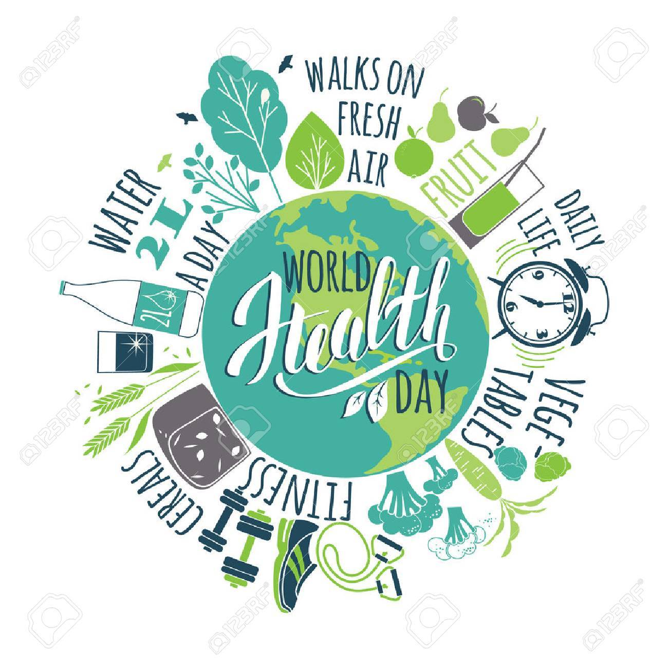 World health day concept with healty lifestyle illustration. - 55707333