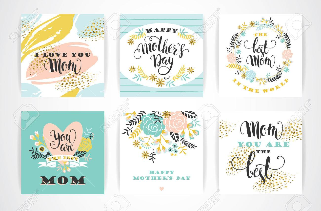 Set of Happy Mothers Day lettering greeting cards with Flowers. Vector illustration. - 55709815