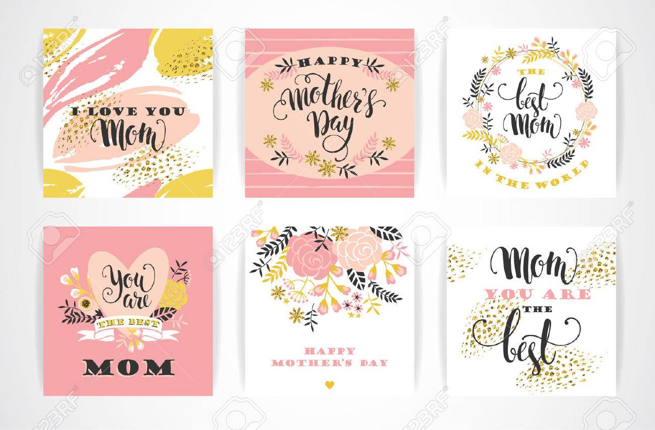 Set of Happy Mothers Day lettering greeting cards with Flowers. Vector illustration. - 55709821
